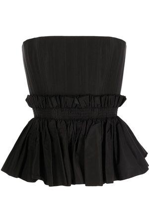 ALEX PERRY Women Strapless Tops - Strapless Peplum silk bustier