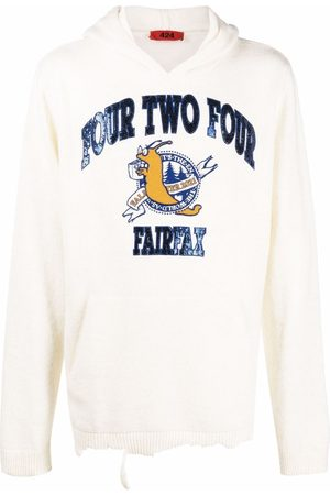 424 FAIRFAX Men Hoodies - Sequined knitted hoodie - Neutrals