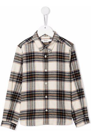 BONPOINT Plaid check print shirt - Neutrals