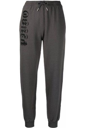 Pinko Women Sweatpants - Logo-print cotton sweatpants - Grey