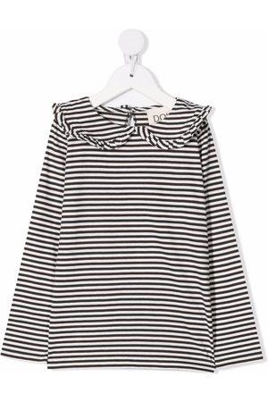 DOUUOD KIDS Ruffle-collar striped blouse