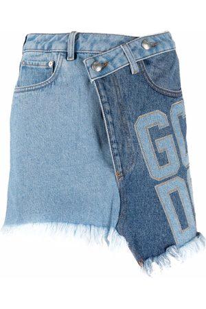 GCDS Patchwork asymmetric denim skirt