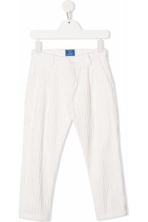FAY KIDS Logo-patch straight-leg trousers