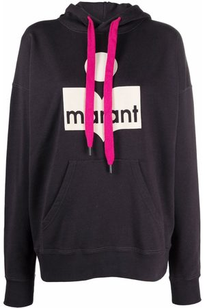 Isabel Marant Mansel flocked-logo fleece hoodie - Grey