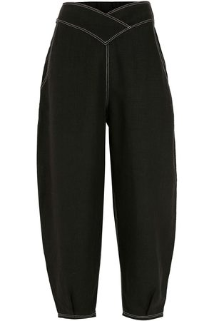 Piu Elasticated-waist cropped tapered trousers