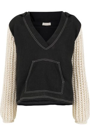 Piu Knitted-sleeves V-neck top