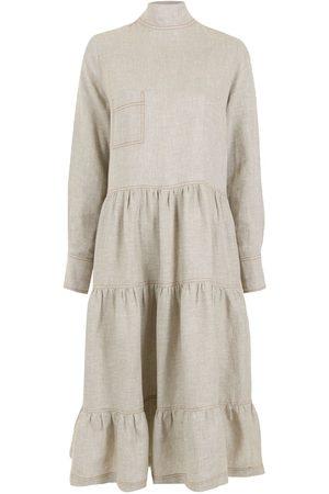 Piu Women Dresses - Mock-neck ruffled dress - Neutrals