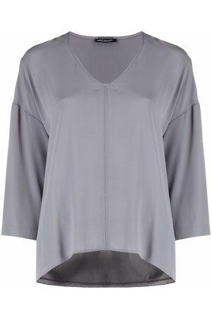 Luisa Cerano Women T-shirts - V-neck drop-shoulders T-Shirt - Grey