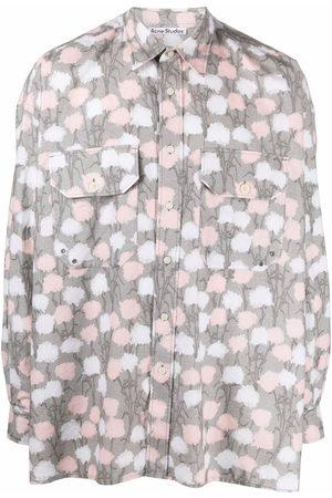 Acne Studios Floral-print flannel shirt - Grey