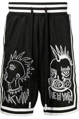 HACULLA Embroidered mesh-panel basketball shorts
