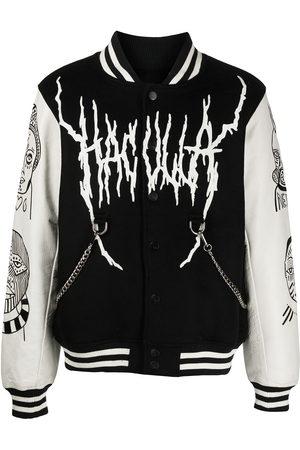 HACULLA Men Leather Jackets - Leather-sleeve varsity jacket - /OFF