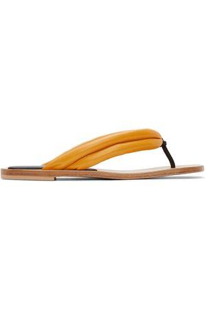 DRIES VAN NOTEN Women Flip Flops - Orange Leather Flip Flops