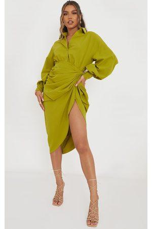 PRETTYLITTLETHING Women Casual Dresses - Olive Balloon Sleeve Gathered Skirt Midi Shirt Dress