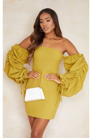 PRETTYLITTLETHING Women Bodycon Dresses - Chartreuse Woven Bardot Ruched Sleeve Bodycon Dress