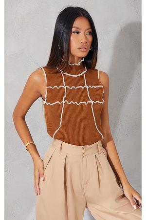 PRETTYLITTLETHING Women High Necks - Chocolate Contrast Stitch High Neck Top