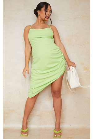 PRETTYLITTLETHING Maternity Lime Halterneck Low Back Ruched Mini Dress