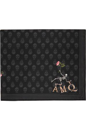 Alexander McQueen Women Scarves - Black Silk Flower Biker Scarf