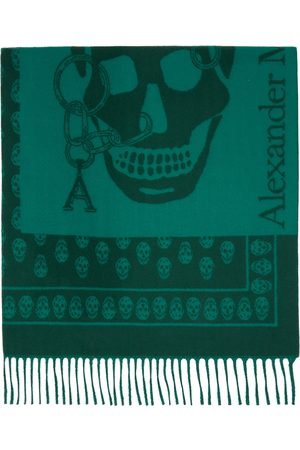 Alexander McQueen Women Scarves - Green Wool Oversize Chain Scarf