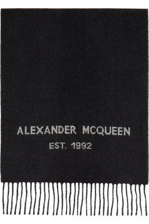 Alexander McQueen Women Scarves - Black Oversize Graffiti Scarf