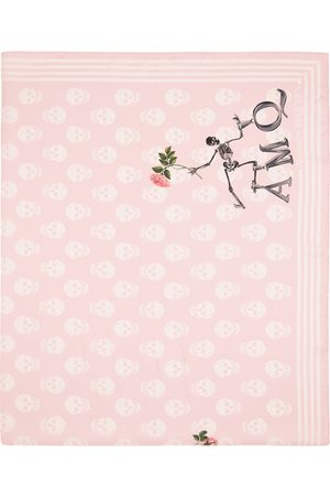 Alexander McQueen Pink Silk Flower Biker Scarf