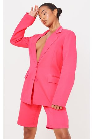 PRETTYLITTLETHING Hot Woven Fitted Waist Suit Blazer