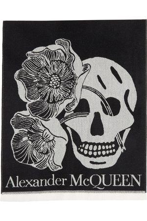 Alexander McQueen Black Wool Oversize Bloom Scarf