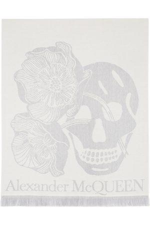 Alexander McQueen Women Scarves - White Wool Oversize Bloom Scarf
