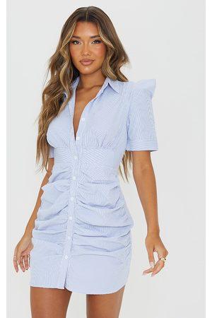 PRETTYLITTLETHING Women Bodycon Dresses - Pinstripe Button Down Ruched Bodycon Dress