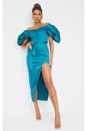 PRETTYLITTLETHING Emerald Off Shoulder Puff Sleeve Tie Waist Midi Dress