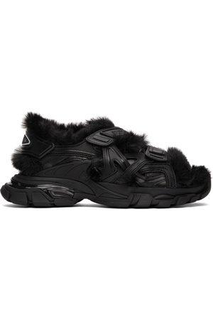 Balenciaga Men Sandals - Black Faux-Fur Track Sandals
