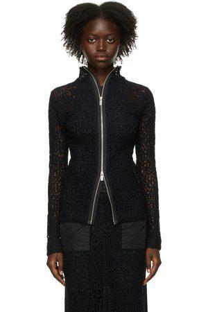 SACAI Women High Necks - Black Embroidered Message Turtleneck