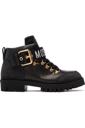 Moschino Black Buckle Logo Boots