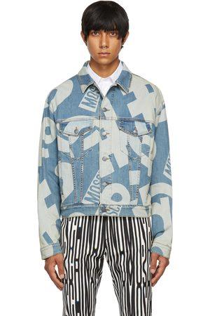 Moschino Blue Denim Allover Symbols Jacket