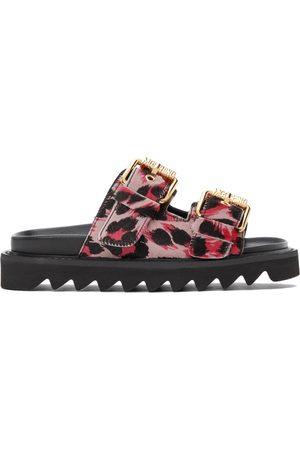 Moschino Women Sandals - Pink Calf Leopard Sandals