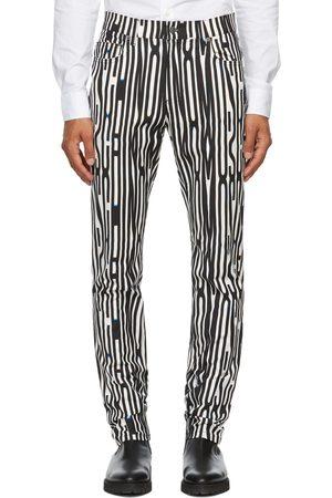 Moschino Men Sweats - White & Black Allover Warped Glitch Lounge Pants