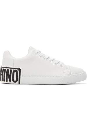 Moschino White Logo Heel Low Sneakers
