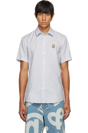 Moschino Men Short sleeves - White & Blue Teddy Patch Short Sleeve Shirt