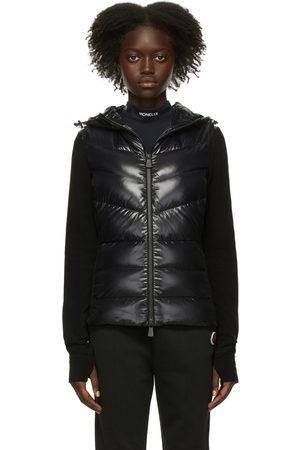 Moncler Women Fleece Jackets - Black Down Paneled Hooded Jacket