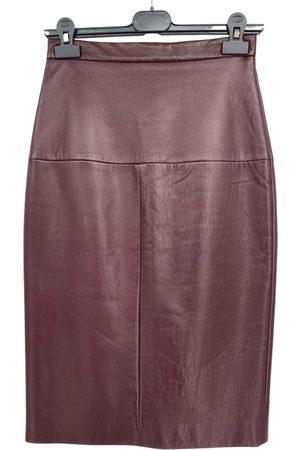 EUDON CHOI Leather mid-length skirt