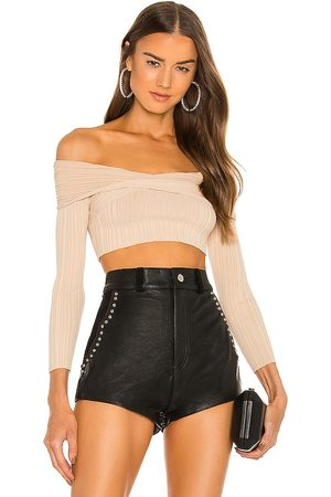 Michael Costello Knit Ribbed Off Shoulder Top in Nude.