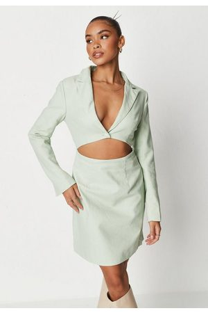 Missguided Women Party Dresses - Tall Linen Look Cut Out Blazer Mini Dress
