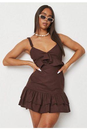 Missguided Chocolate Linen Mix Frill Waist Cami Dress