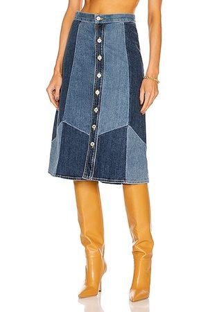 NILI LOTAN Madeline Patchwork Denim Skirt in