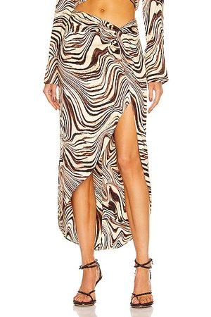 Nicholas Women Asymmetrical Skirts - Mallie Asymmetrical Twist Skirt in Brown