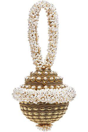 Women Clutches - Artisanal Pearl Silk Simi Gold Cluth Bag Mae Cassidy
