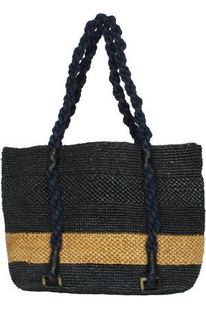 MARAINA LONDON Mimosa & Brown Striped Beach Raffia Tote Bag