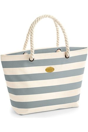 Non-Toxic Dyes Grey Canvas Nautical Stripe Tote With Rope Handle - Light Hortons England