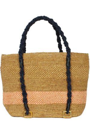 MARAINA LONDON Women Purses - Mimosa Beach Raffia Tote Bag With Dusty Pink Stripe