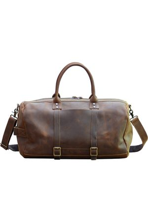 Non-Toxic Dyes Brown Leather Vintage Look Weekend Bag In Worn Touri