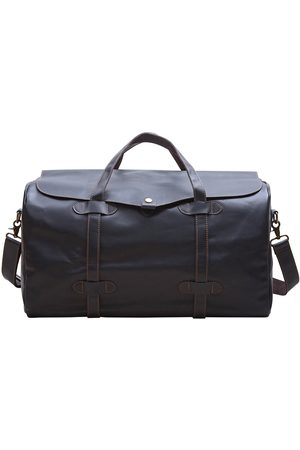 Non-Toxic Dyes Black Cotton Genuine Leather Holdall With Stitched Detail In Touri